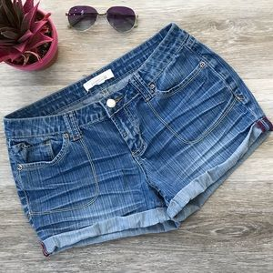 Forever 21 Jean Shorts Low-Rise Whiskered Cuff